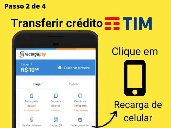Passo 2 de 4 para transferir crédito TIM