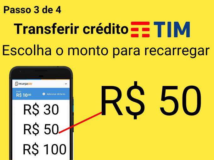 Passo 3 de 4 para transferir crédito TIM